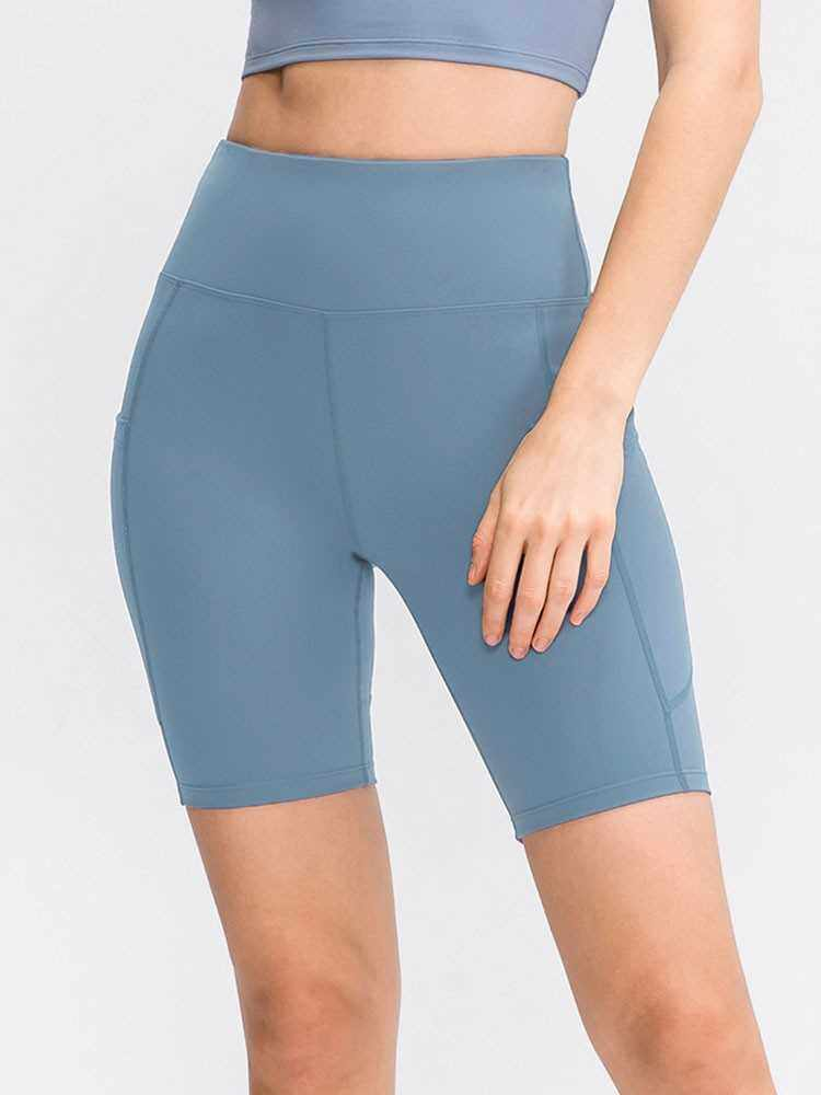 Best Selling Women Yoga Shorts with Pockets High Waist Sports Tights Stretch Running Fitness Workout Pants Gym Sportswear (Light Blue)