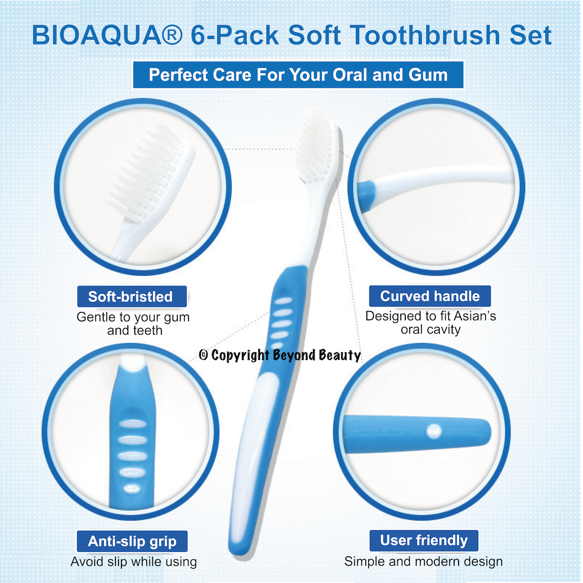 [VALUE BUY] BIOAQUA 6-Pack Soft Toothbrush Set