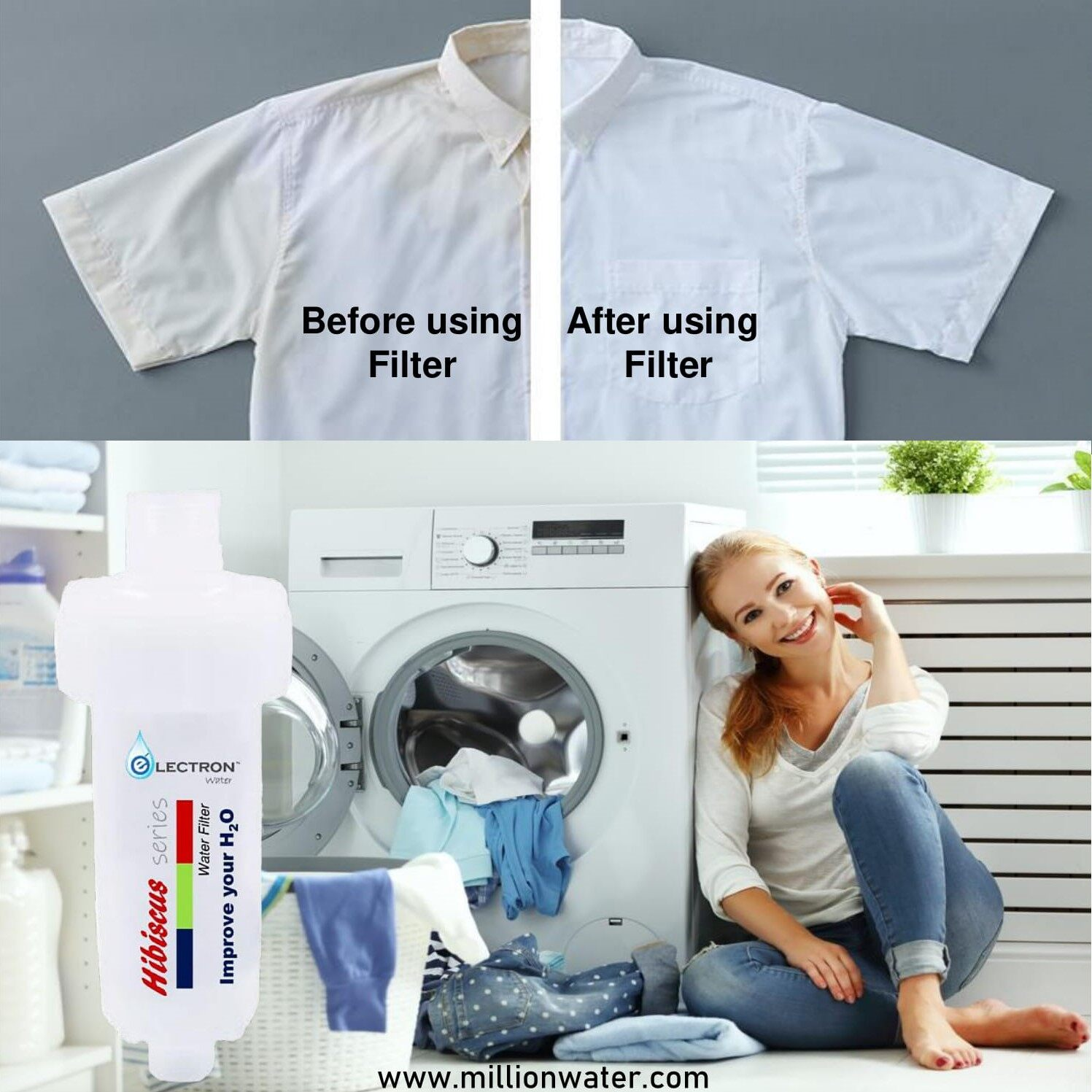 """ELECTRON WATER - 7"""" Washing Machine Filter / Shower Filter / Faucet Filter Remove Rust & Sediments in the water"""