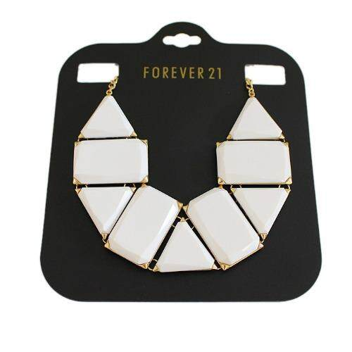 Forever 21 Beaded Statement Necklace ( White )