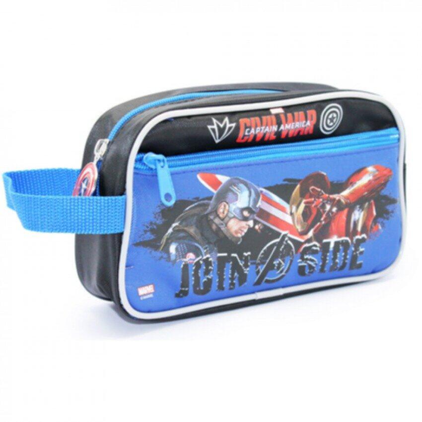 Marvel Avengers Captain America Civil War Double Zipper Pencil Case - Blue Colour