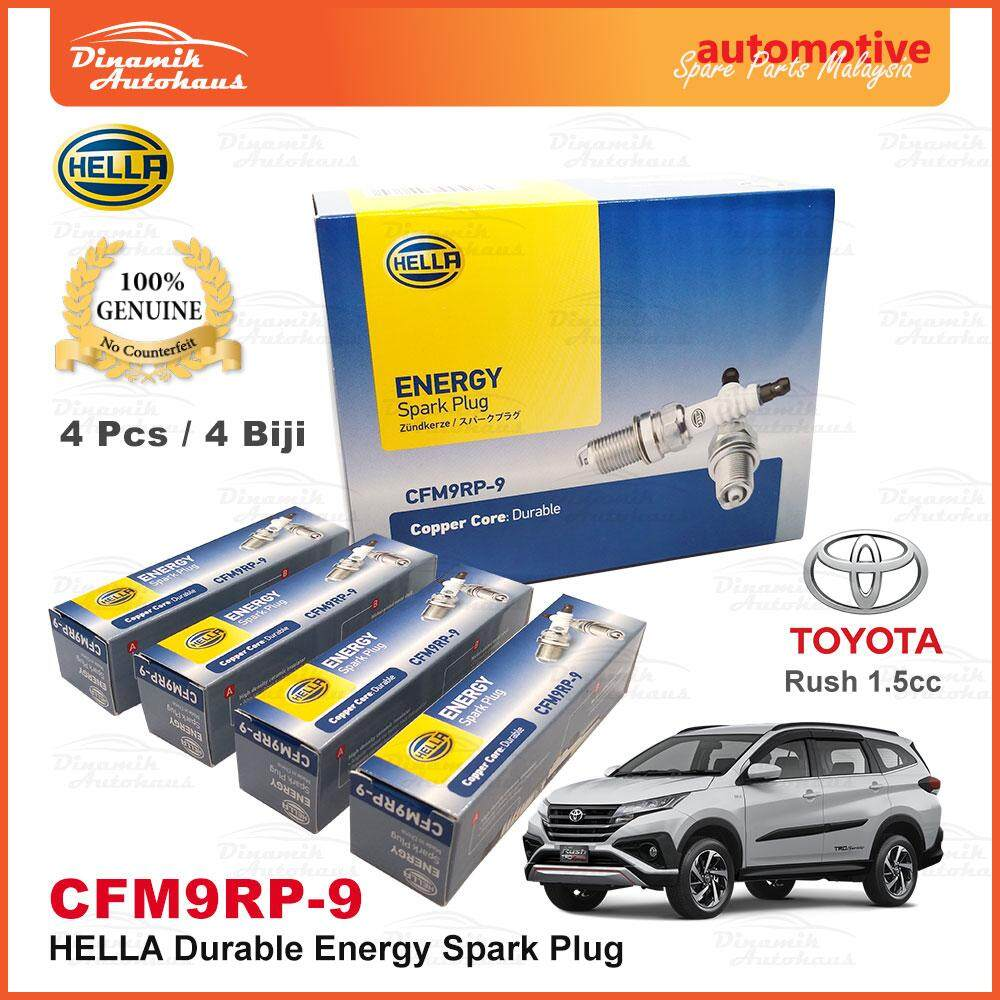 Toyota Rush 1.5cc Car Spark Plug Hella Energy Durable CFM9RP-9 (4pcs)
