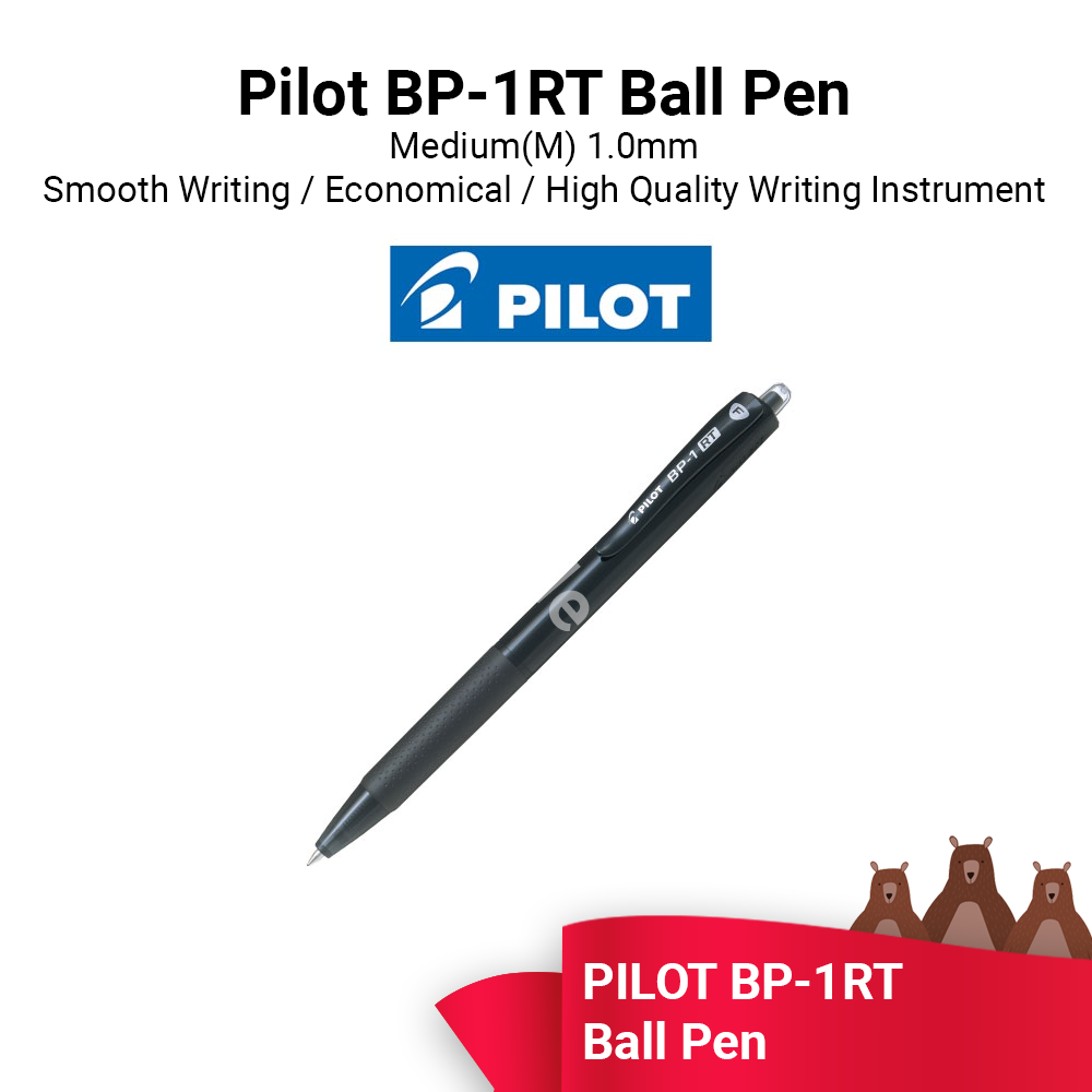 PILOT Ball Pen Medium 1.0 (BP-1RT) - Black Blue Red Colour / Ready Stock - Fast Shipping