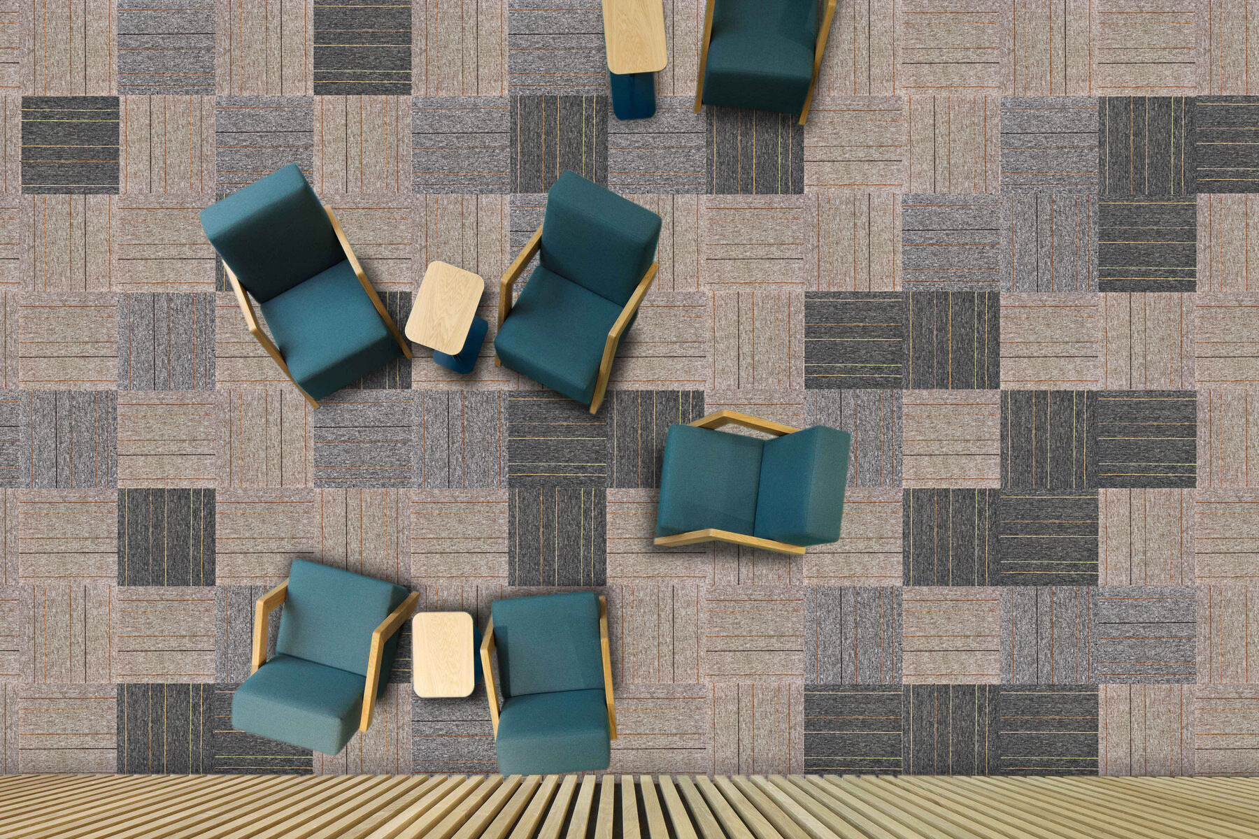 Linear Design Office Carpet Flooring - 50CM x 50CM Carpet Tiles - Squares Rug (Commercial Carpet Tile Carpet) - Wall-to-Wall Office Carpet