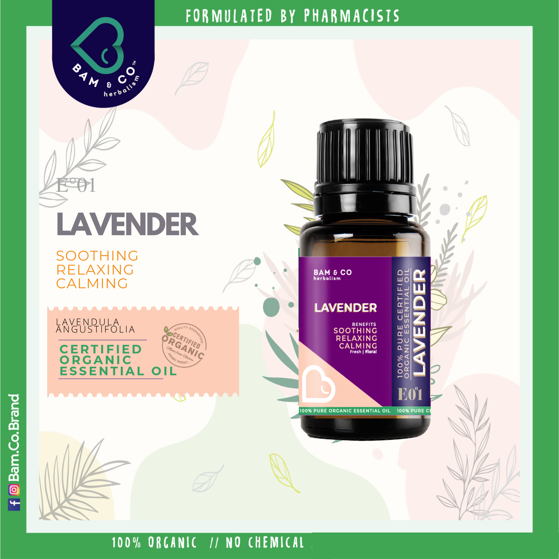 BAM & CO. LAVENDER CERTIFIED PURE ORGANIC ESSENTIAL OIL PERFECT FOR HUMIDIFIER 5ML 10ML AROMATHERAPHY