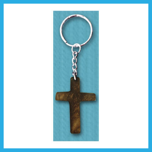 Ouranos Art Christian Gift For Parent Student Mandarin Scripture Wooden Coconut Shell Keychain