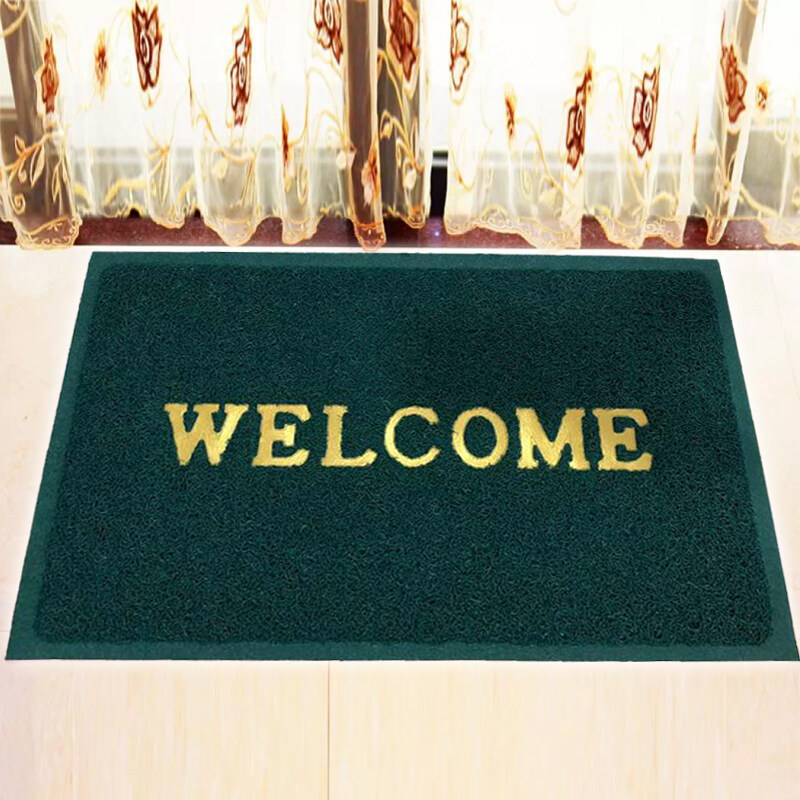 WELCOME High Quality Coil Floor Mat / Doormat / Alas Kaki  Anti Slip  40 cm x 60 cm - Green