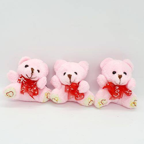 Ready Stock - Cute Ribbon Teddy Bear Plush 7 cm Soft Toy  Hanging Phone