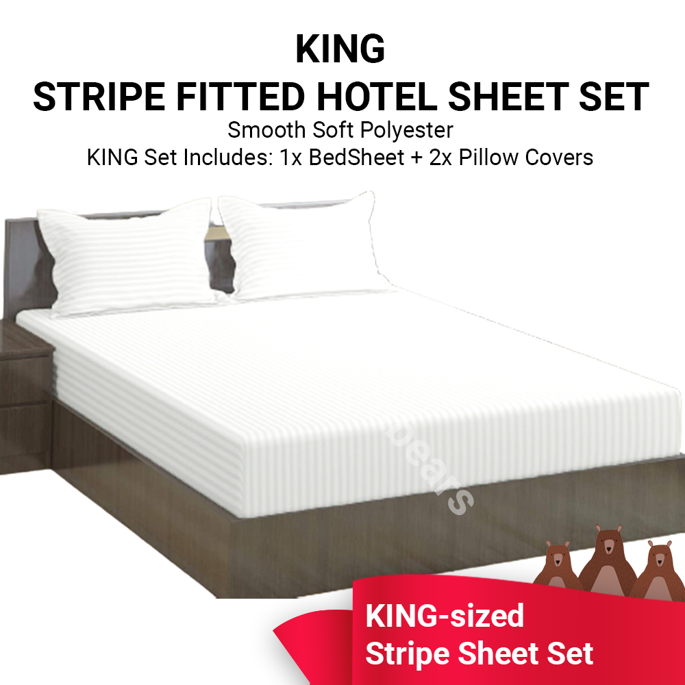 Bamboo Stripe Hotel Like Fitted Bed Sheet Set ~ KING Size - Affordable Superior Quality Microfiber Fabric