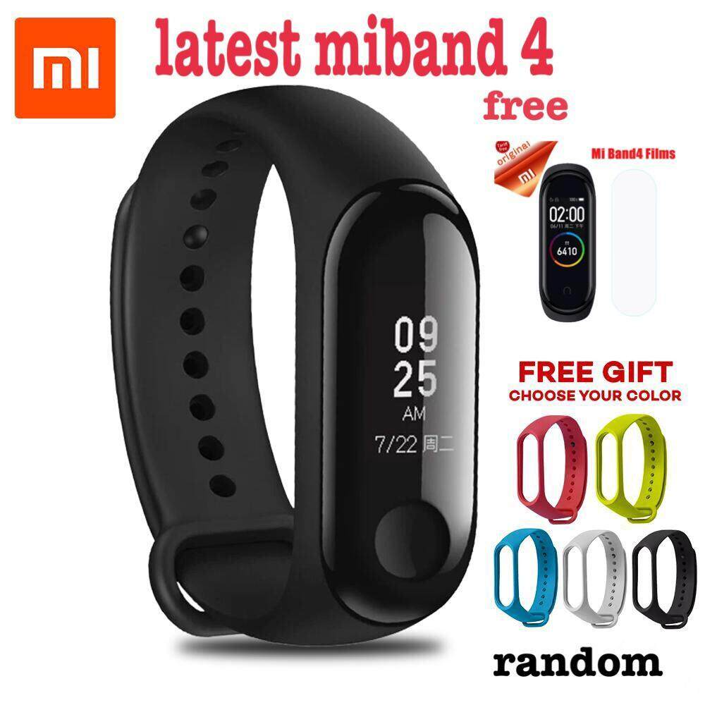 2019 Newest Xiaomi Mi Band 4 Smart Bluetooth 5.0 Wristband Fitness Bracelet AMOLED Color Touch Screen Music AI Heart Rate Monitor miband 4 black free strap random color