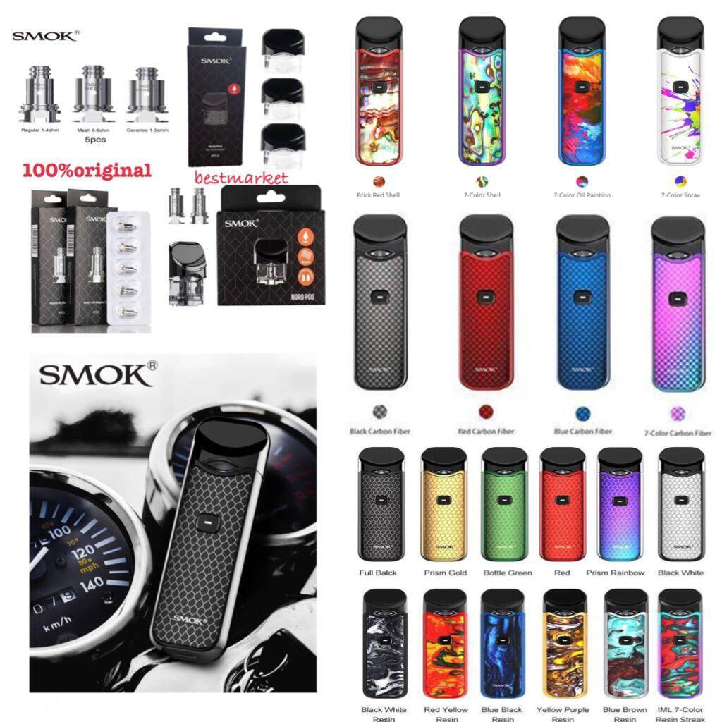 Ready Stock 100% ORIGINAL Smok Nord Pod Kit Vape Pen 1100mAh Battery Starter Kit 3ml smok blue brown resin