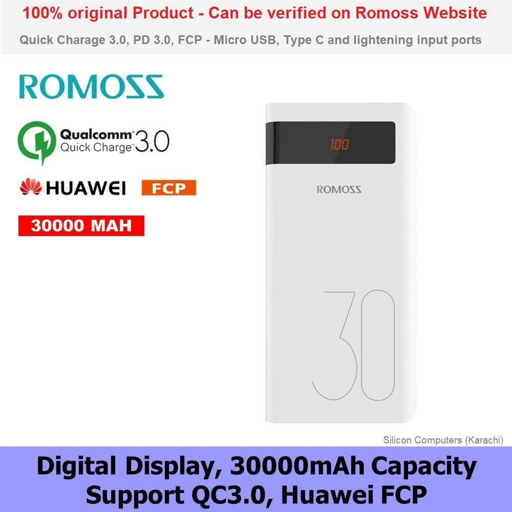 ROMOSS SENSE 8P+ LED Display QC & PD 3.0 Quick Charge 30000mAh Type-C Output Power Bank