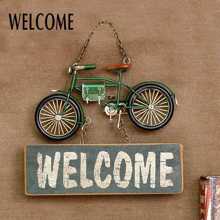 Vintage Unique Hanging Welcome Sign Door Green Bicycle Gift Idea