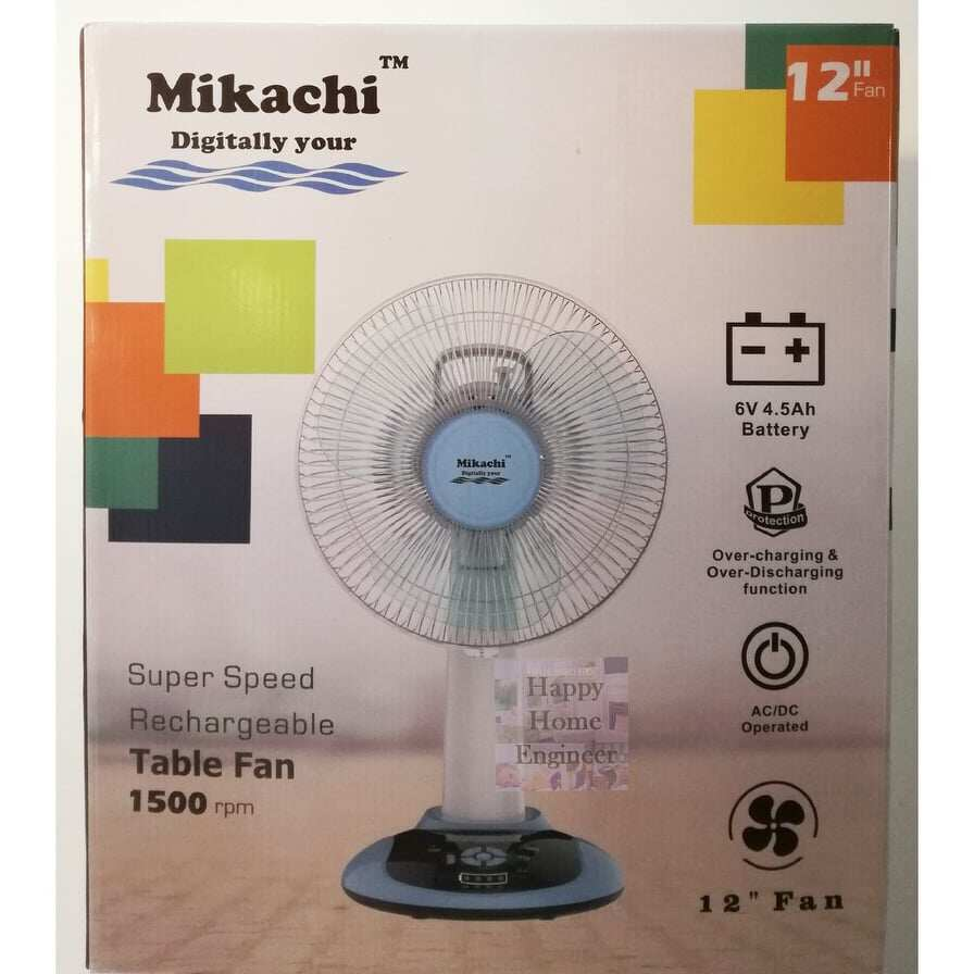 "Mikachi Rechargeble 12"" Table Fan with 9 Speed/Battery Indicator/Night Lamp/USB charger MKC 2932s"