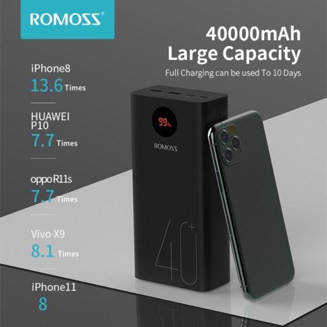 ROMOSS PEA40 Zeus 40000mAh QC3.0 18w Fast Charing High Capacity Powerbank Dual Output 3Input LED Display Power Bank
