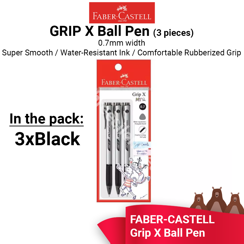 Faber-Castell Grip X7 Ball Pen 0.7mm - 3x  BLACK  PENS - READY STOCK - FAST SHIPPING