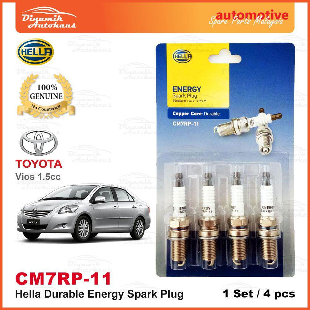 Toyota Vios 1.5cc Year 2002- Model Car Spark Plug German Hella Energy CM7RP-11 (4pcs)