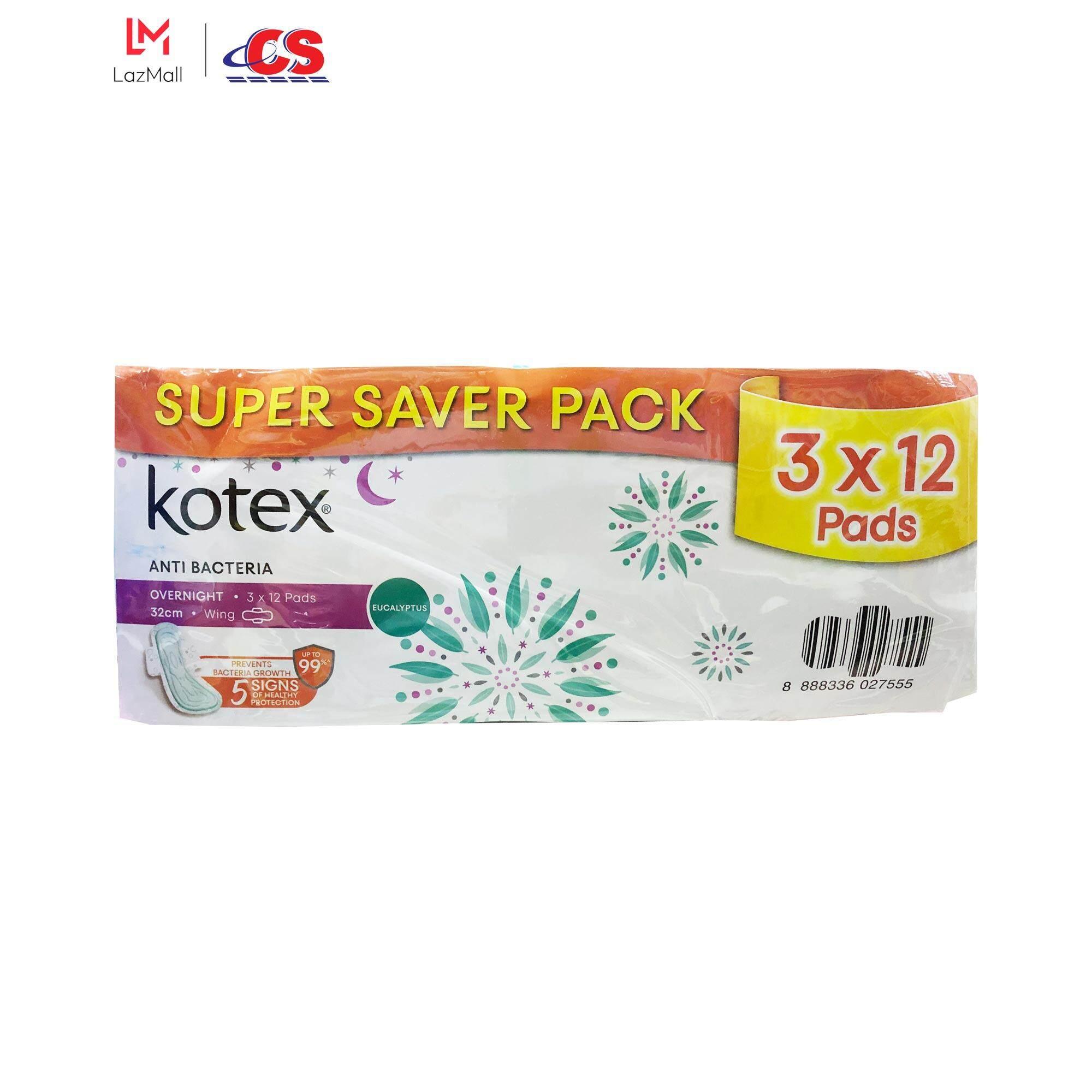KOTEX Anti Bacteria Overnight Wing 32cm 3x12s
