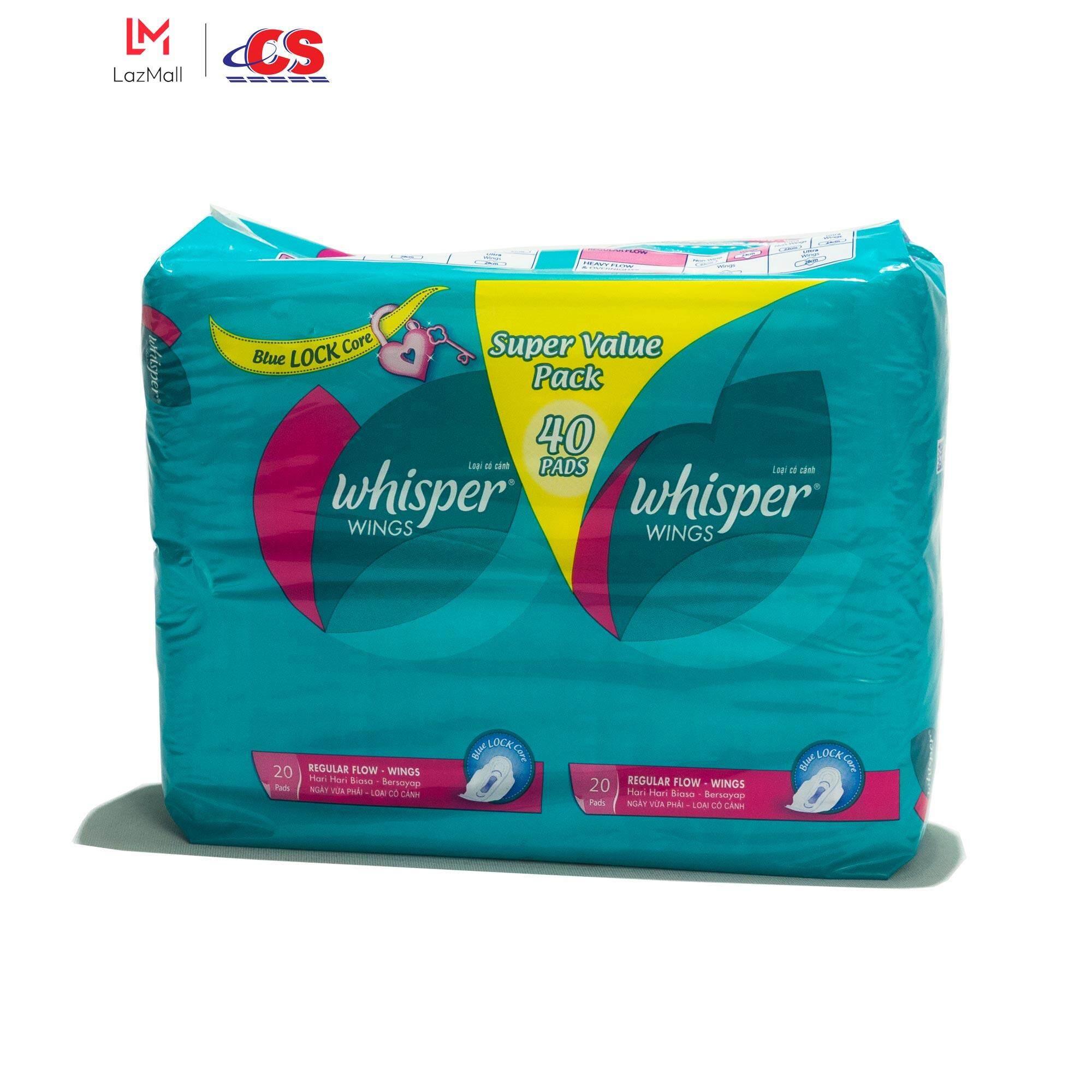 WHISPER Regular Flow Wing Jumbo Pack 2x20s