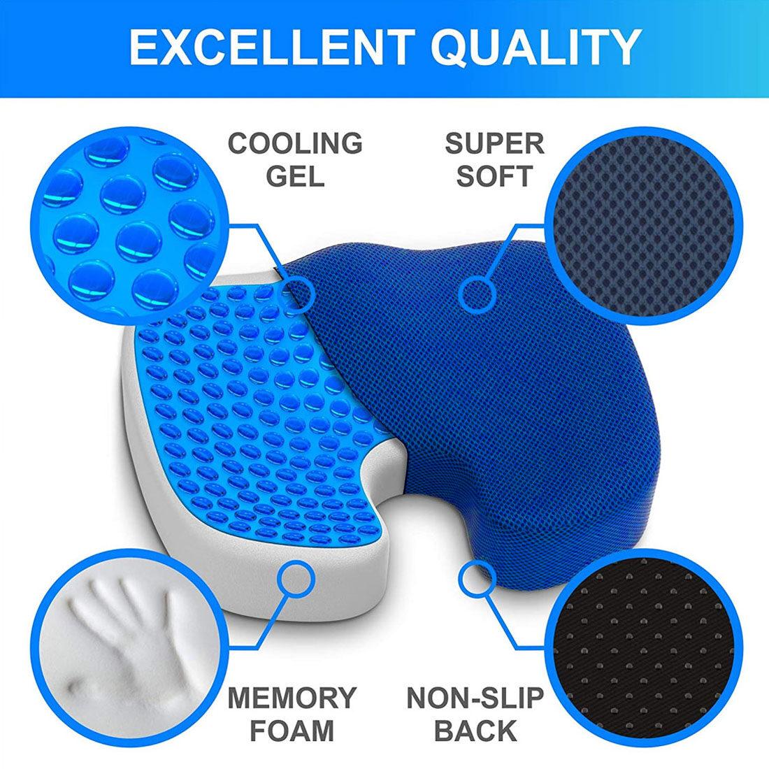 Gel Enhanced Seat Cushion Non-Slip Orthopedic Memory Foam Coccyx Cushion Office Chair Car Seat Cushion for Tailbone Pain: Colour: Grey/ Black