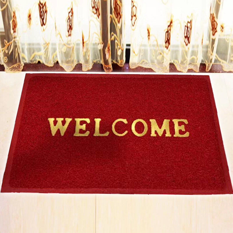 WELCOME High Quality Coil Floor Mat / Doormat / Alas Kaki  Anti Slip  40 cm x 60 cm - Red
