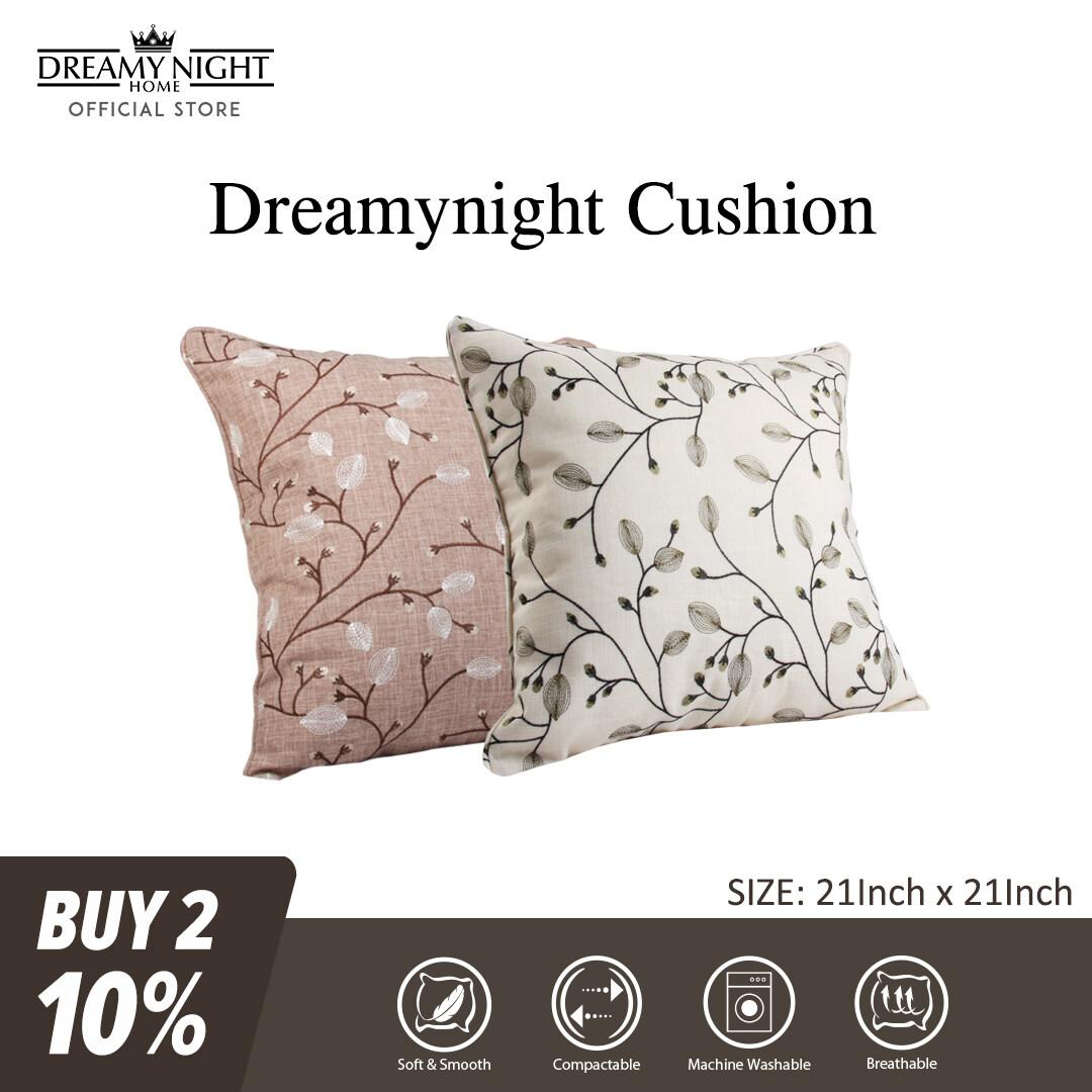 Dreamynight Home Cushion Insert with Linen Fabric Cushion Cover 52cm X 52cm Embroidery Design Sarung Kusyen Home Décor