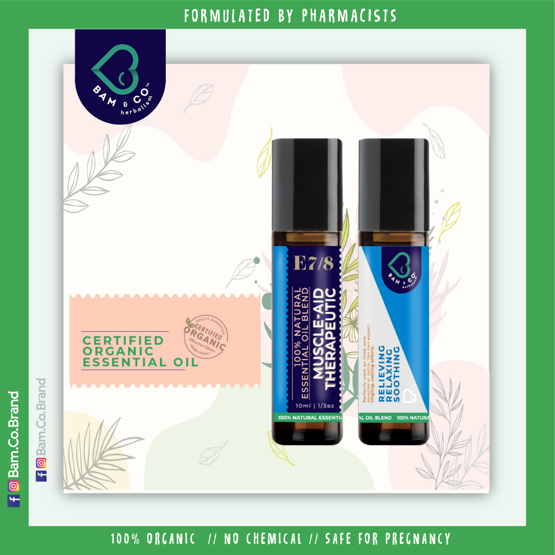 BAM & CO 100% NATURAL HERBAL MUSCLE-AID THERAPEUTIC ESSENCE ESSENTIAL OIL ROLL ON - MUSCLE PAIN JOINT PAIN 10ML