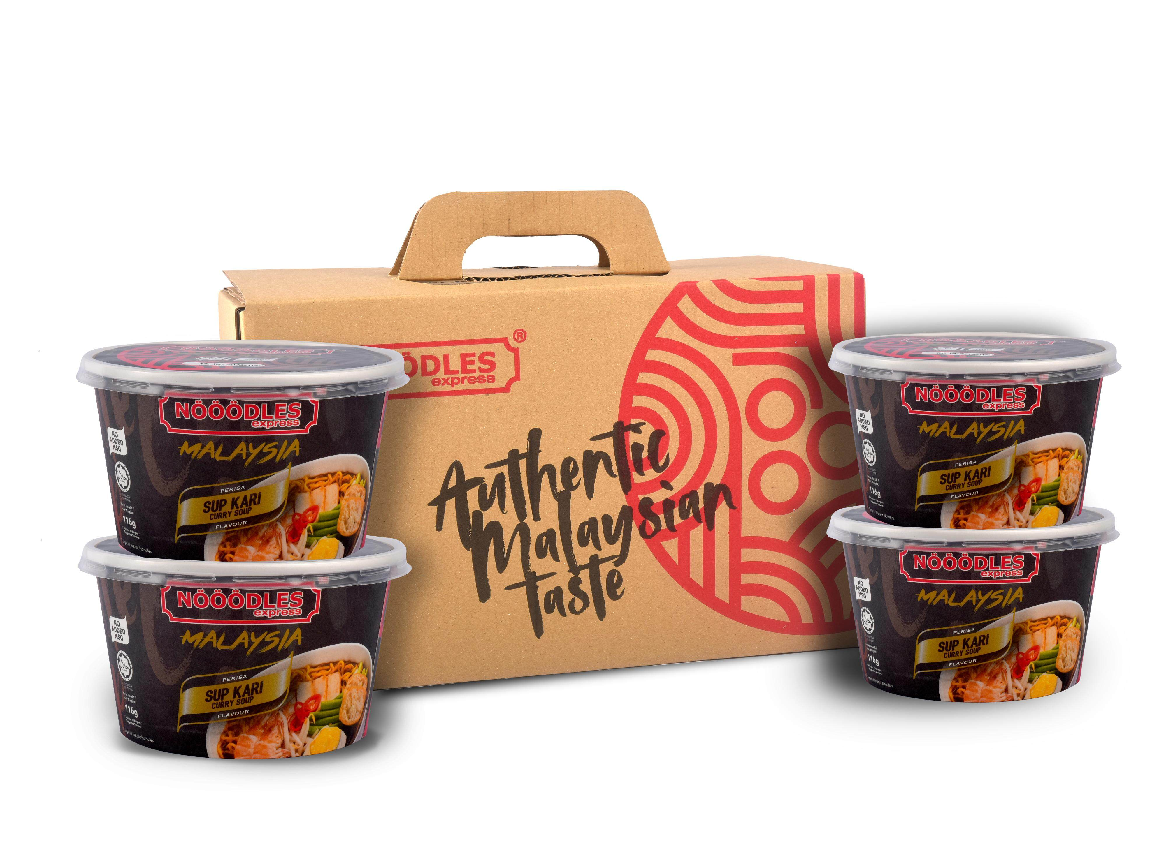 Box of 4 Instant Noodle Curry Soup Flavour (NDLES express) / 4 Mee Segera Perasa Sup Kari (NDLES express)