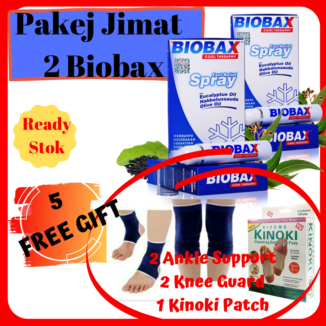 [TERLARIS] Biobax Spray Sakit Pinggang ? Pakej 2 Unit Biobax 50ml Free 5 Free Gift Untuk Legakan Lenguh Dan Sakit Sendi Terutama Ibu Bapa