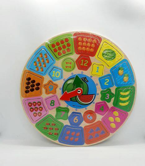 Ready Stock - Kids Round Shape Clock Wood Puzzle Colorful Design