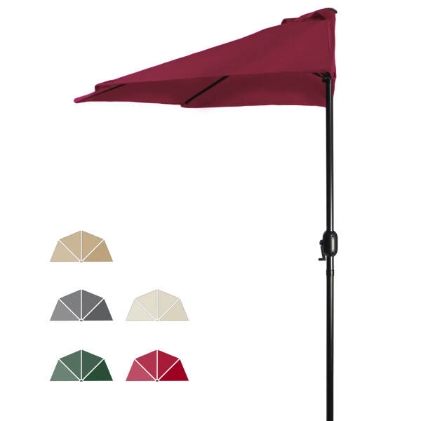 9ft Outdoor Half Round Patio Umbrella W/Crank Mechanism For Backyard, Deck, Garden, Marke