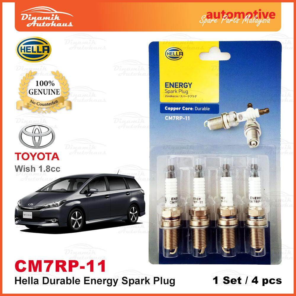 Toyota Wish 1.8cc Year 2002- Model Car Spark Plug German Hella Energy CM7RP-11 (4pcs)