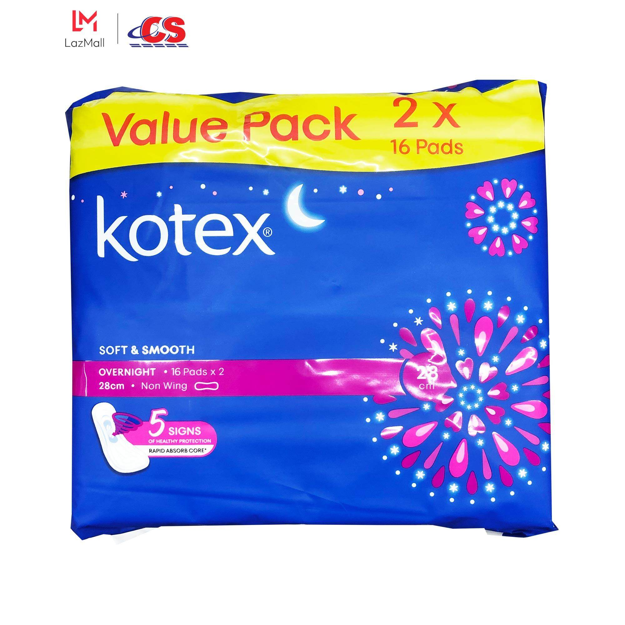 KOTEX Soft and Smooth Overnight Non Wing 28cm 2x16s