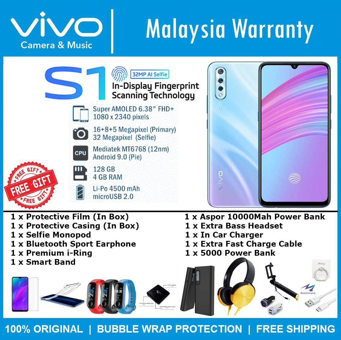 VIVO S1 (6GB RAM + 128GB ROM) 100% Original Vivo Malaysia Set With Free Gift
