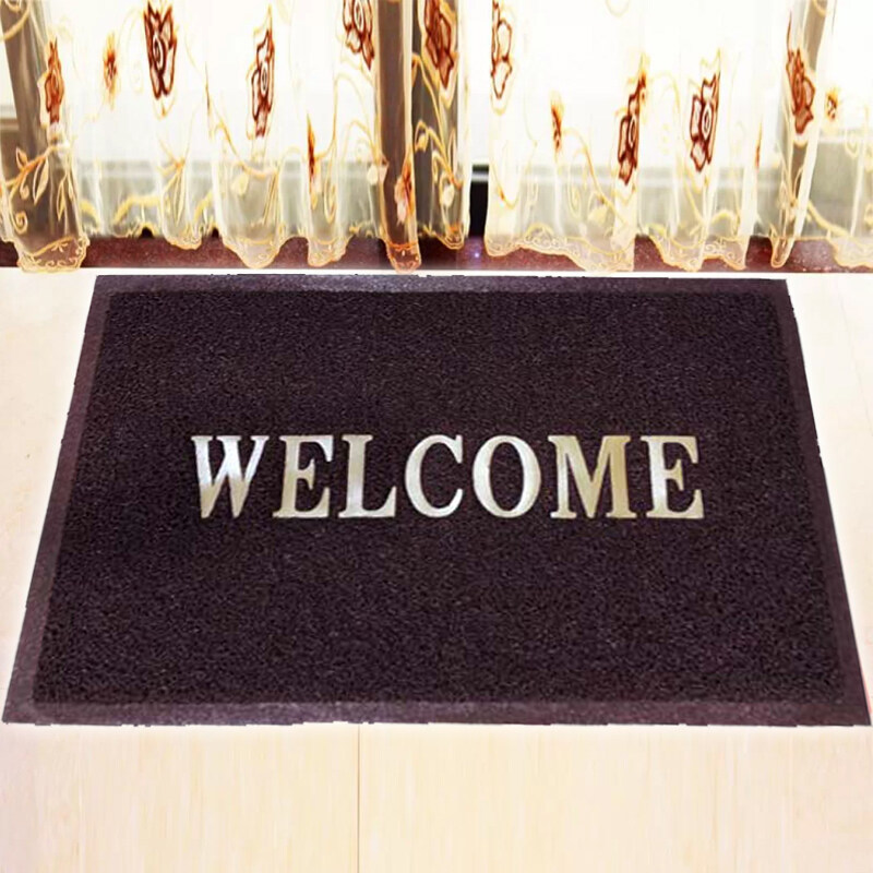 WELCOME High Quality Coil Floor Mat / Doormat / Alas Kaki  Anti Slip  40cm x 60cm - Brown