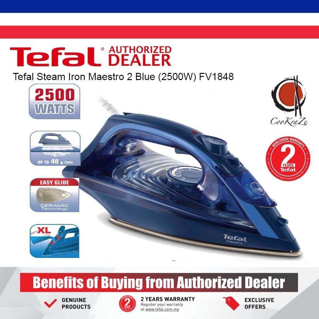 READY STOCK Tefal Steam Iron Maestro 2 Blue 2500W FV1848