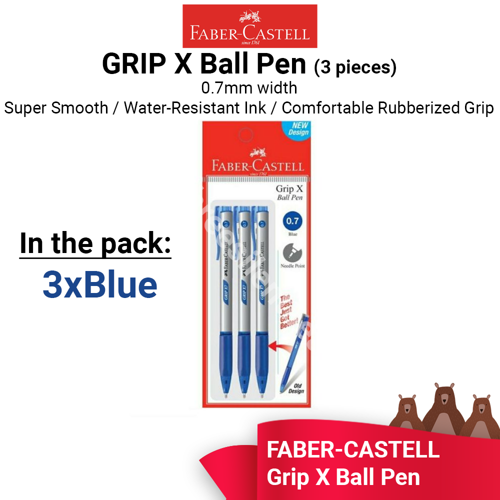Faber-Castell Grip X7 Ball Pen 0.7mm - 3x  BLUE PENS - READY STOCK - FAST SHIPPING