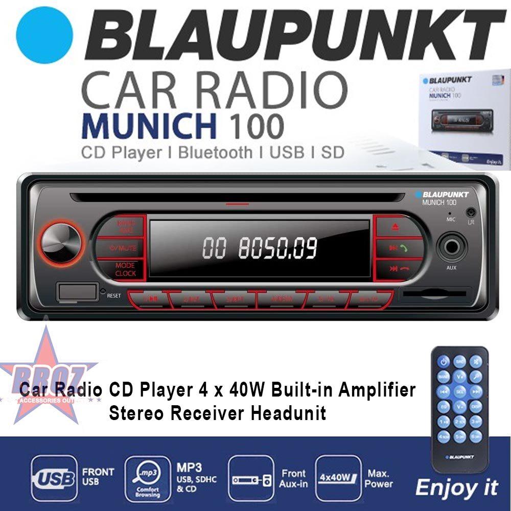 BLAUPUNKT Munich 100 USB Bluetooth AUX MP3 SDHC Car Radio CD Player 4 x 40W Built-in Amplifier Stereo Receiver Headunit
