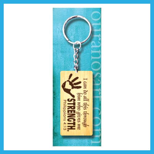 Ouranos Art Christian Gift For Parent Student Mandarin Scriputre Wooden Keychain