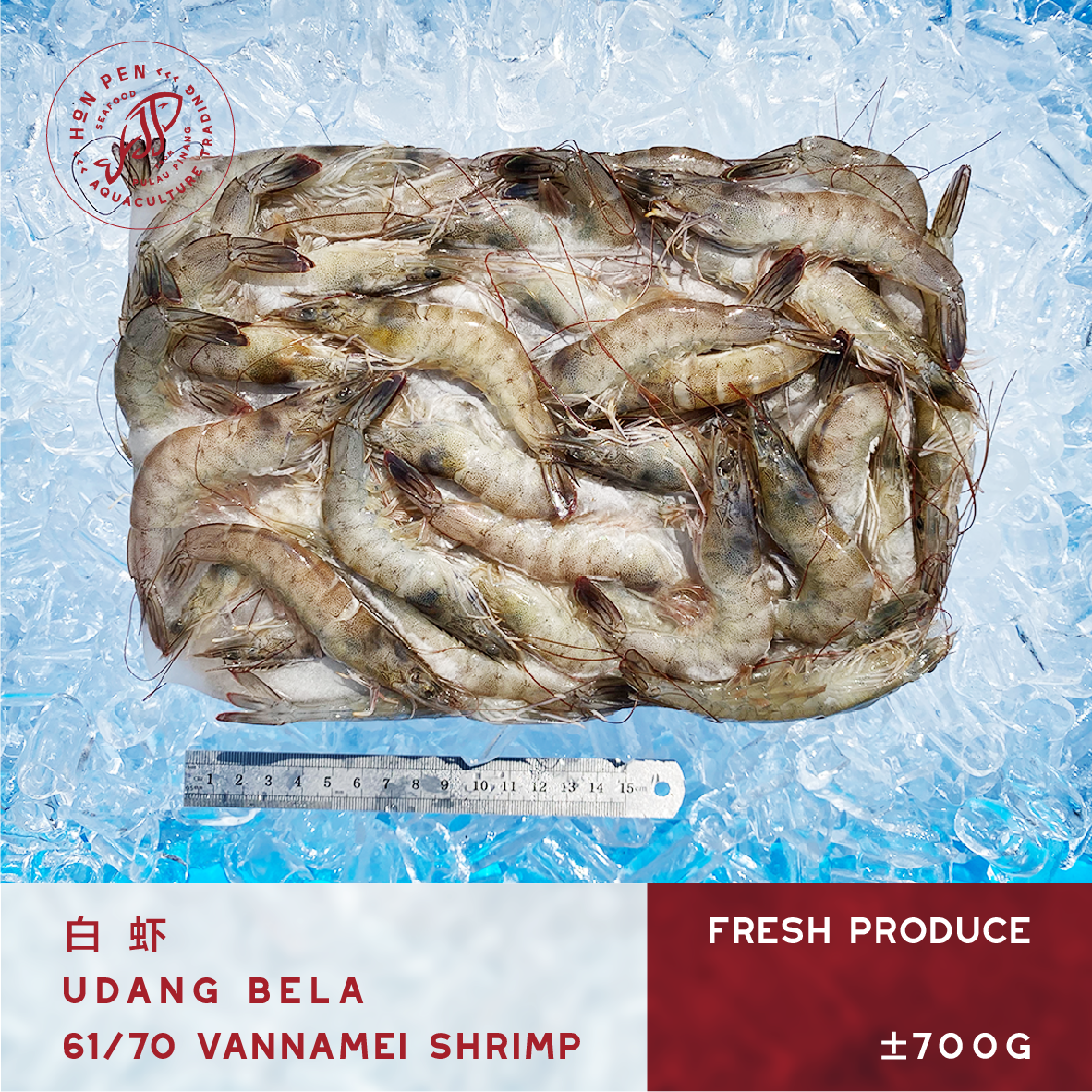 VANNAMEI SHRIMP 61/70 白虾 UDANG BELA (Seafood) ±700g