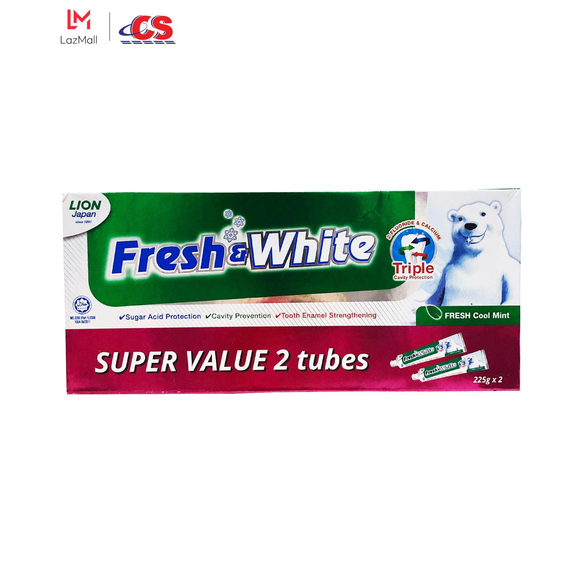 FRESH & WHITE Toothpaste Fresh Cool Mint Twin Pack (2s x 225g)