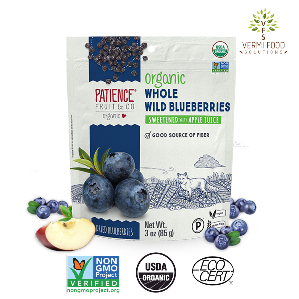 Patience Organic Whole Wild Dried Blueberries 85g