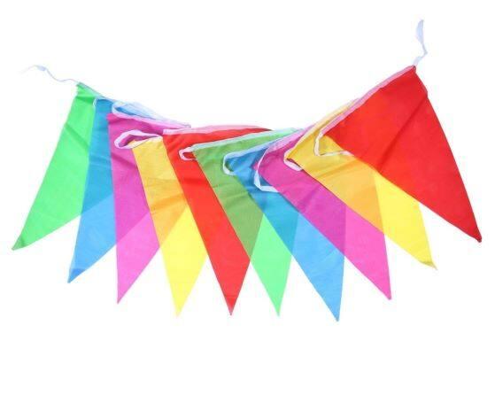 Ready Stock - Rainbow Colorful triangle Cloth Flag Bunting Size flag 17cm x 23cm (20pcs flag/set)