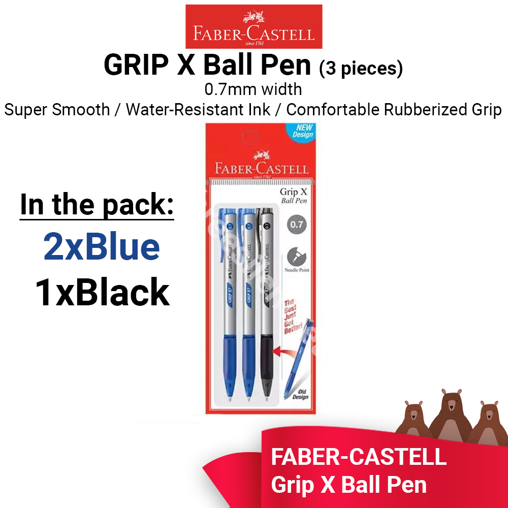 Faber-Castell Grip X7 Ball Pen 0.7mm -2x Blue, 1x Black PENS - READY STOCK - FAST SHIPPING