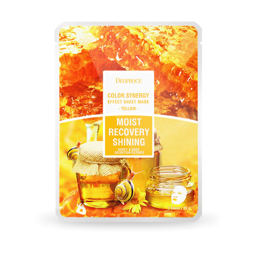DEOPROCE COLOR SYNERGY EFFECT SHEET MASK YELLOW (RECOVERY & SHINING) PROMOSI