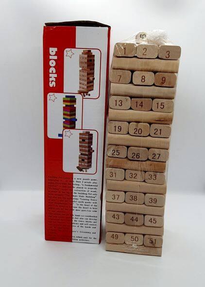 Ready Stock - Jengka Tower 54 Pcs wooden number stacking block + 4 pcs  dice