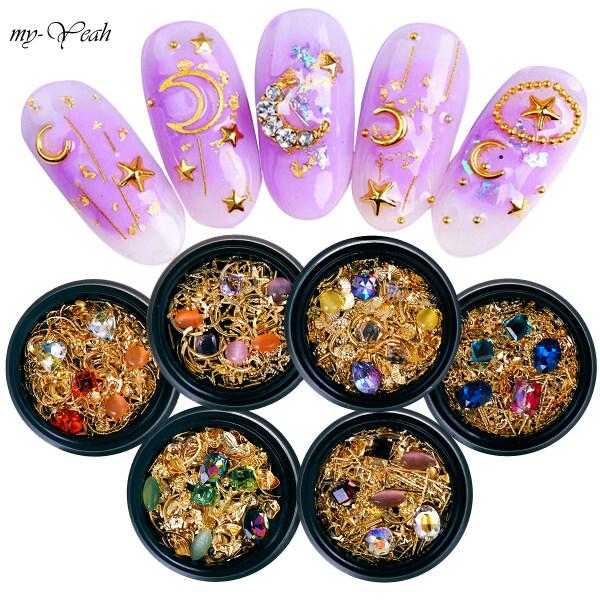 Bộ trang trí Myyeah gồm đinh tán/ kim cương giả/ mảnh kim loại dạng rỗng nhiều kiểu họa tiết dùng để trang trí móng nghệ thuật, có 6 kiểu để lựa chọn (trọng lượng 14g) - INTL nhập khẩu