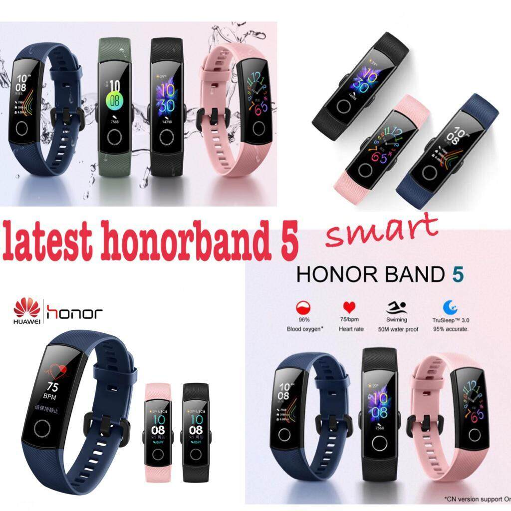 [LATEST] Honor Band 5 AMOLED Smart Wristband Oximeter Blood Oxygen SpO2 Heart Rate Tracker Swimming Fitness Tracker honorband 5 black