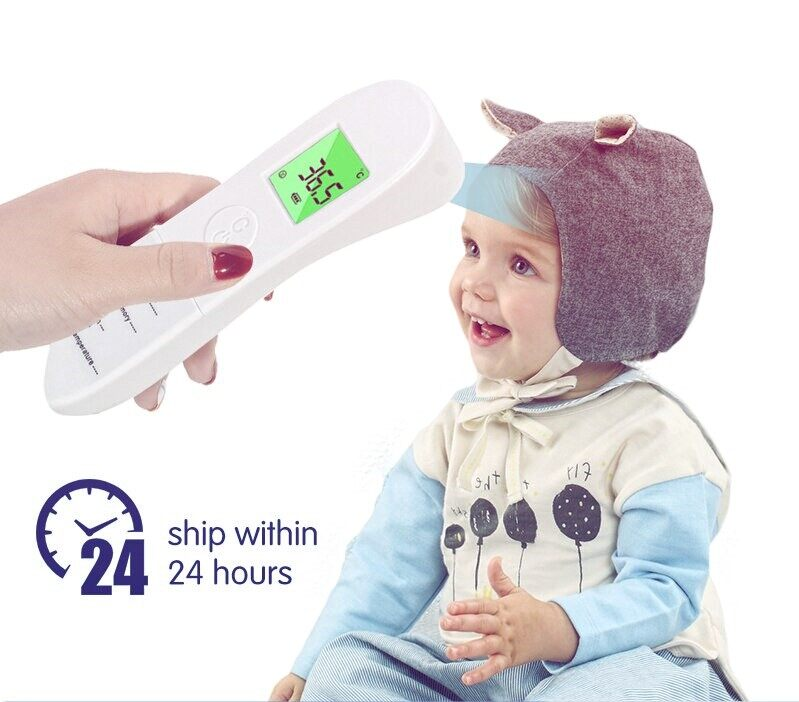 Baby Thermometer Digital Infrared IR LCD Baby Forehead and Ear Non-Contact Adult Body Fever Measurement Thermometer