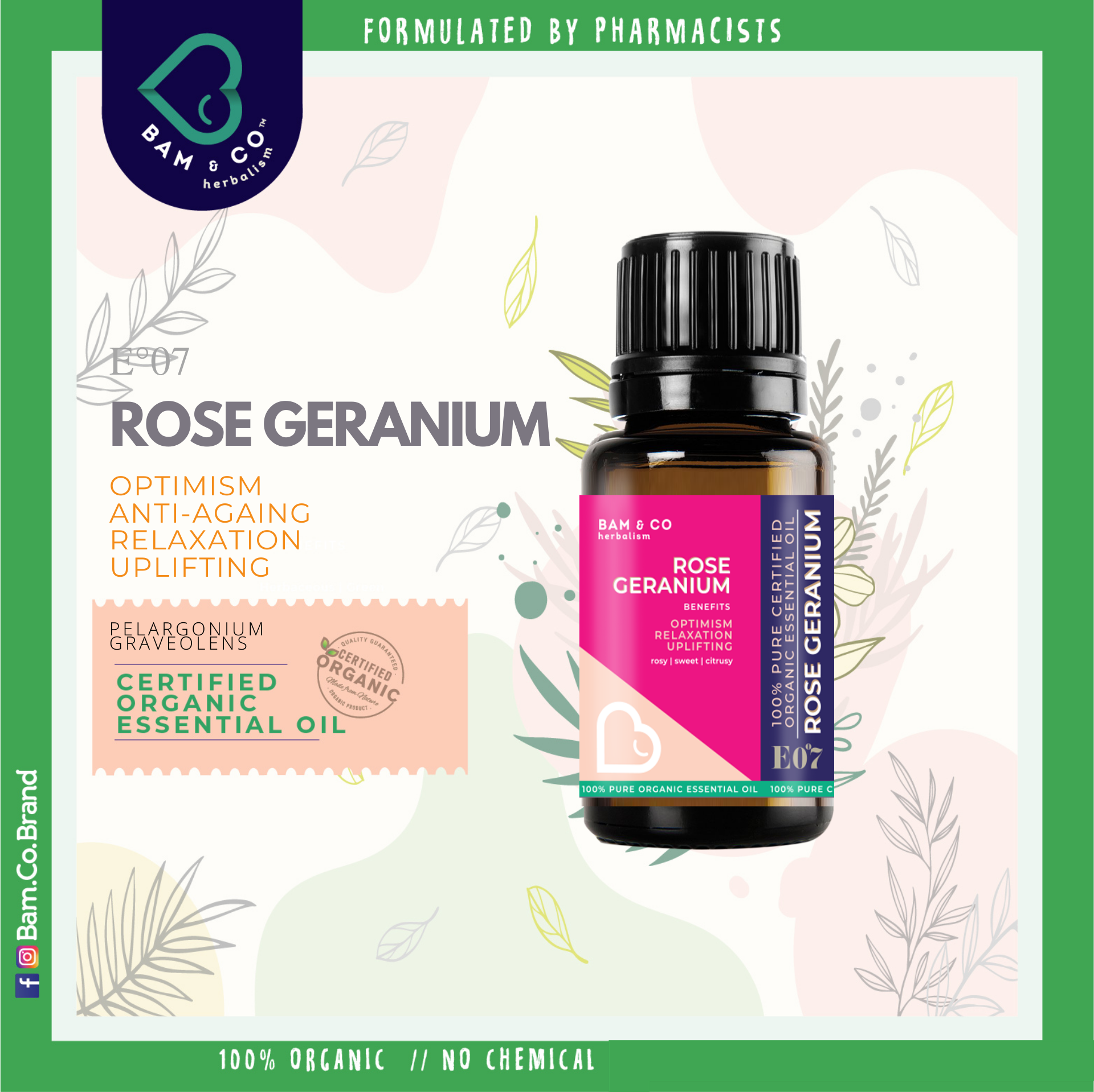 BAM & CO. ROSE GERANIUM CERTIFIED PURE ORGANIC ESSENTIAL OIL PERFECT FOR HUMIDIFIER 5ML 10ML